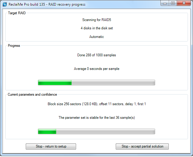 RAID recovery progress in ReclaiMe Pro.