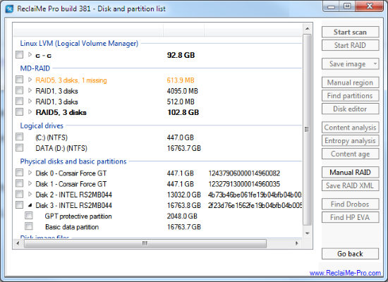 Disk and Partition List - Professional Data Recovery Manual