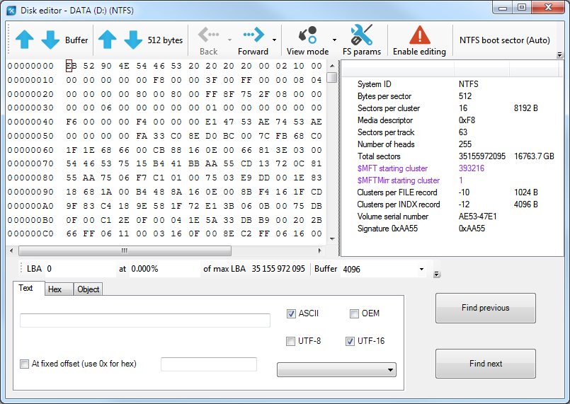 Disk editor in ReclaiMe Pro.
