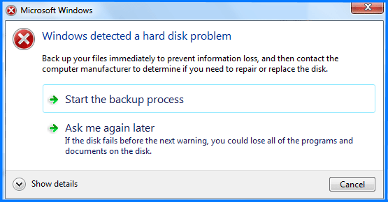 Windows detected a hard disk problem message error