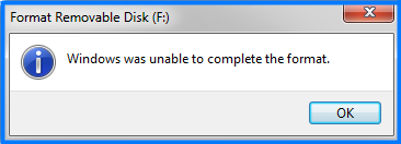 Windows was unable to complete the format error