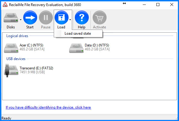 Load the state of ReclaiMe File Recovery