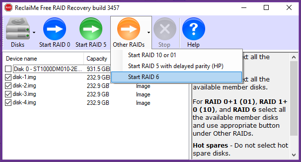 RAID6 recovery in ReclaiMe Free RAID Recovery