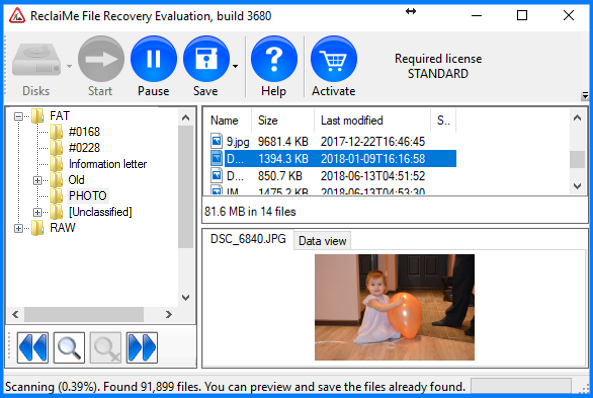 RAW drive recovery