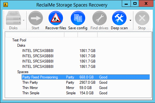 ReclaiMe Storage Spaces Recovery screenshot
