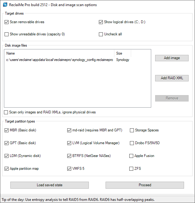 Recovering data from an iSCSI Synology volume in ReclaiMe Pro - loading the config.